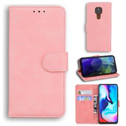Retro Classic Skin Feel Leather Wallet Phone Case for Motorola Moto G9 Play - Pink
