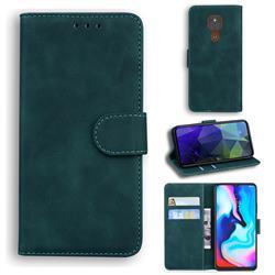 Retro Classic Skin Feel Leather Wallet Phone Case for Motorola Moto G9 Play - Green