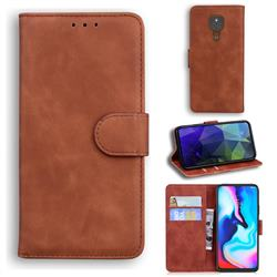 Retro Classic Skin Feel Leather Wallet Phone Case for Motorola Moto G9 Play - Brown
