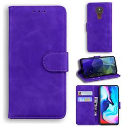 Retro Classic Skin Feel Leather Wallet Phone Case for Motorola Moto G9 Play - Purple