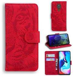 Intricate Embossing Tiger Face Leather Wallet Case for Motorola Moto G9 Play - Red