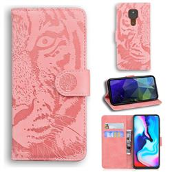 Intricate Embossing Tiger Face Leather Wallet Case for Motorola Moto G9 Play - Pink