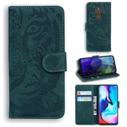 Intricate Embossing Tiger Face Leather Wallet Case for Motorola Moto G9 Play - Green
