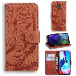 Intricate Embossing Tiger Face Leather Wallet Case for Motorola Moto G9 Play - Brown