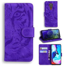 Intricate Embossing Tiger Face Leather Wallet Case for Motorola Moto G9 Play - Purple