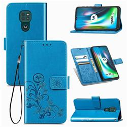 Embossing Imprint Four-Leaf Clover Leather Wallet Case for Motorola Moto G9 Play - Blue