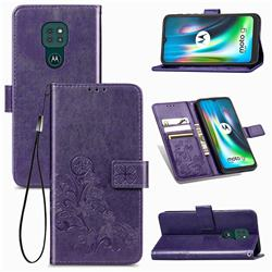 Embossing Imprint Four-Leaf Clover Leather Wallet Case for Motorola Moto G9 Play - Purple