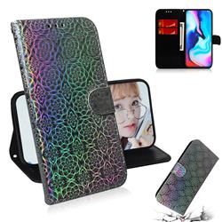 Laser Circle Shining Leather Wallet Phone Case for Motorola Moto G9 Play - Silver