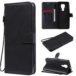 Retro Greek Classic Smooth PU Leather Wallet Phone Case for Motorola Moto G9 Play - Black