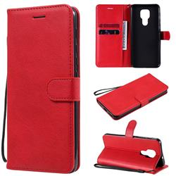 Retro Greek Classic Smooth PU Leather Wallet Phone Case for Motorola Moto G9 Play - Red