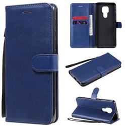 Retro Greek Classic Smooth PU Leather Wallet Phone Case for Motorola Moto G9 Play - Blue