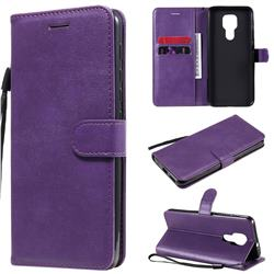 Retro Greek Classic Smooth PU Leather Wallet Phone Case for Motorola Moto G9 Play - Purple