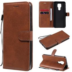 Retro Greek Classic Smooth PU Leather Wallet Phone Case for Motorola Moto G9 Play - Brown