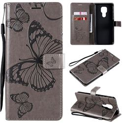 Embossing 3D Butterfly Leather Wallet Case for Motorola Moto G9 Play - Gray