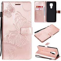 Embossing 3D Butterfly Leather Wallet Case for Motorola Moto G9 Play - Rose Gold
