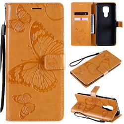 Embossing 3D Butterfly Leather Wallet Case for Motorola Moto G9 Play - Yellow