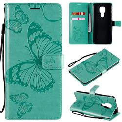 Embossing 3D Butterfly Leather Wallet Case for Motorola Moto G9 Play - Green