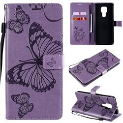 Embossing 3D Butterfly Leather Wallet Case for Motorola Moto G9 Play - Purple