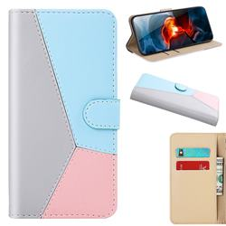 Tricolour Stitching Wallet Flip Cover for Motorola Moto G9 Play - Gray