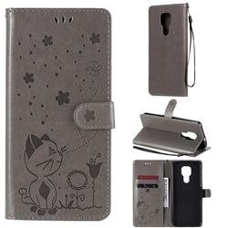 Embossing Bee and Cat Leather Wallet Case for Motorola Moto G9 Play - Gray