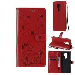Embossing Bee and Cat Leather Wallet Case for Motorola Moto G9 Play - Red