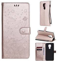 Embossing Bee and Cat Leather Wallet Case for Motorola Moto G9 Play - Rose Gold
