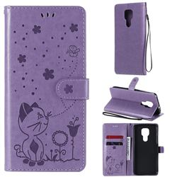 Embossing Bee and Cat Leather Wallet Case for Motorola Moto G9 Play - Purple