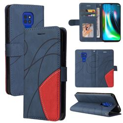 Luxury Two-color Stitching Leather Wallet Case Cover for Motorola Moto G9 Play - Blue