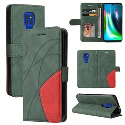 Luxury Two-color Stitching Leather Wallet Case Cover for Motorola Moto G9 Play - Green