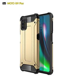 King Kong Armor Premium Shockproof Dual Layer Rugged Hard Cover for Motorola Moto G9 Plus - Champagne Gold