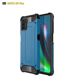 King Kong Armor Premium Shockproof Dual Layer Rugged Hard Cover for Motorola Moto G9 Plus - Sky Blue