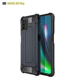 King Kong Armor Premium Shockproof Dual Layer Rugged Hard Cover for Motorola Moto G9 Plus - Navy