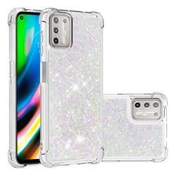 Dynamic Liquid Glitter Sand Quicksand Star TPU Case for Motorola Moto G9 Plus - Pink