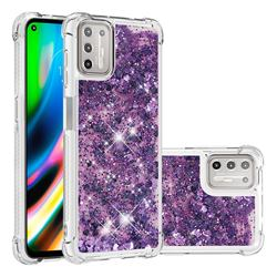 Dynamic Liquid Glitter Sand Quicksand Star TPU Case for Motorola Moto G9 Plus - Purple