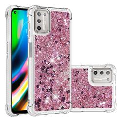 Dynamic Liquid Glitter Sand Quicksand Star TPU Case for Motorola Moto G9 Plus - Diamond Rose