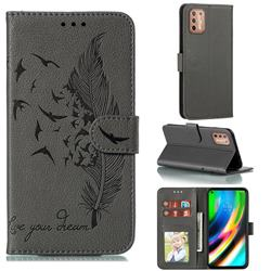 Intricate Embossing Lychee Feather Bird Leather Wallet Case for Motorola Moto G9 Plus - Gray