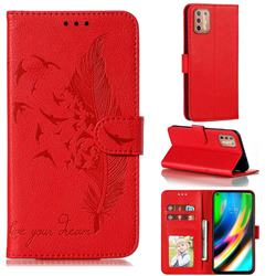 Intricate Embossing Lychee Feather Bird Leather Wallet Case for Motorola Moto G9 Plus - Red