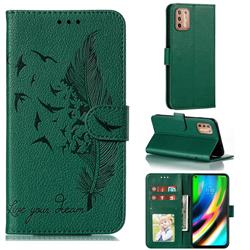 Intricate Embossing Lychee Feather Bird Leather Wallet Case for Motorola Moto G9 Plus - Green