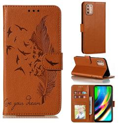 Intricate Embossing Lychee Feather Bird Leather Wallet Case for Motorola Moto G9 Plus - Brown