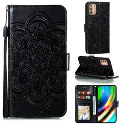 Intricate Embossing Datura Solar Leather Wallet Case for Motorola Moto G9 Plus - Black