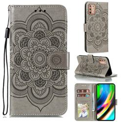 Intricate Embossing Datura Solar Leather Wallet Case for Motorola Moto G9 Plus - Gray