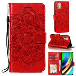 Intricate Embossing Datura Solar Leather Wallet Case for Motorola Moto G9 Plus - Red