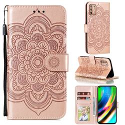 Intricate Embossing Datura Solar Leather Wallet Case for Motorola Moto G9 Plus - Rose Gold