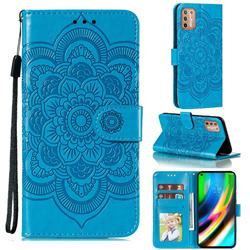 Intricate Embossing Datura Solar Leather Wallet Case for Motorola Moto G9 Plus - Blue
