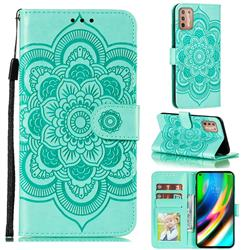 Intricate Embossing Datura Solar Leather Wallet Case for Motorola Moto G9 Plus - Green
