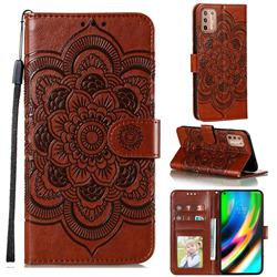Intricate Embossing Datura Solar Leather Wallet Case for Motorola Moto G9 Plus - Brown