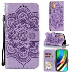 Intricate Embossing Datura Solar Leather Wallet Case for Motorola Moto G9 Plus - Purple