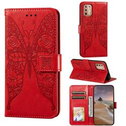 Intricate Embossing Rose Flower Butterfly Leather Wallet Case for Motorola Moto G9 Plus - Red