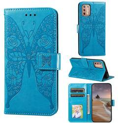 Intricate Embossing Rose Flower Butterfly Leather Wallet Case for Motorola Moto G9 Plus - Blue