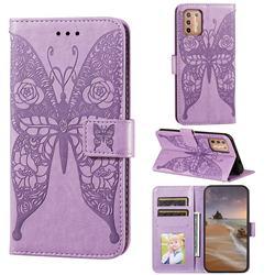 Intricate Embossing Rose Flower Butterfly Leather Wallet Case for Motorola Moto G9 Plus - Purple